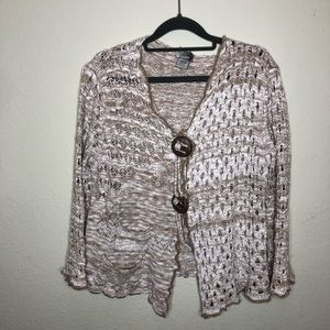 LaSeine Crocheted Cardigan with Oversized Buttons